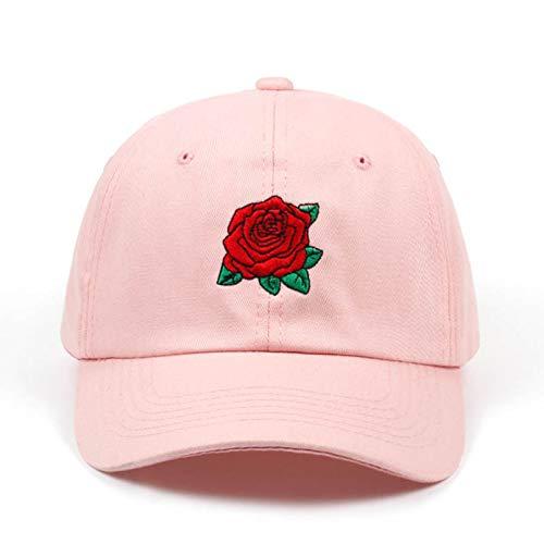 YIERJIU Gorra Gorras Beisbol Nueva Gorra de béisbol con Flor de Rosa roja, Gorra Snapback para Mujer con Sombrero de papá, Gorra de Marca de Verano de Hip Hop para Mujer, Sombreros al por Mayor,Pink
