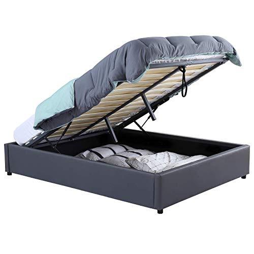 IDMarket - Lit Coffre Miami PVC Gris avec sommier 140 x 190 CM