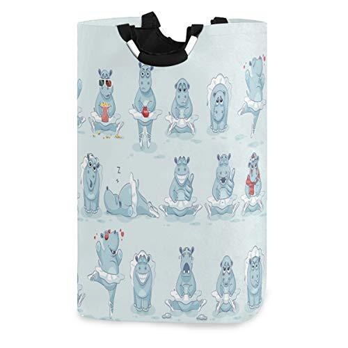 Mnsruu - Juego de cestas de lavandería, diseño de Emoji Bailarina, hipopótamo, Redondo, Impermeable, Plegable, Cesta de Almacenamiento para Ropa Sucia y Juguetes