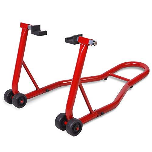 COSTWAY Motorradständer hinten Montageständer Motorrad Ständer Halter Radhalter für Hinterrad Hinterradständer breitenverstellbar Farbwahl (Rot)