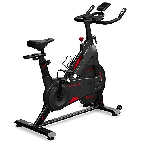 Dripex Heimtrainer Fahrrad, Indoor Hometrainer mit Stahlschwungrad, Magnetbremse, Pulsmesser, LCD-Anzeige und Flaschehalter Benutzergewicht bis 120kg (schwarz und rot)
