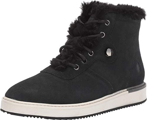 Hush Puppies Women's Sabine Fur Hiker Ankle Boot, Black Suede, 7.5 W US