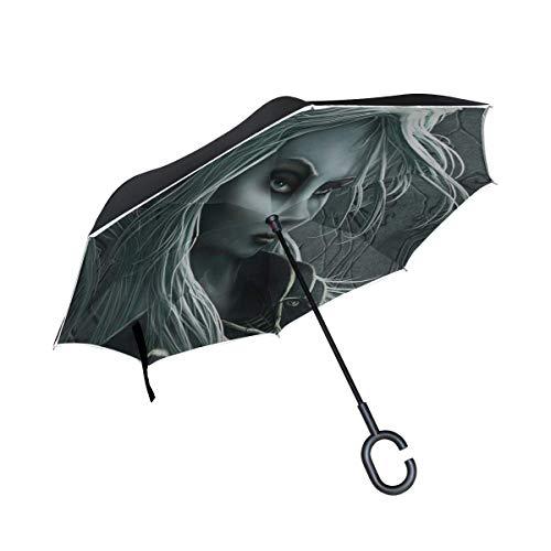 Mädchen-Elfen-Zeichen umgekehrter Regenschirm großer doppelschichtiger Regensonnen-Regenschirm im Freien