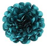 Cussi Flor Grande de Tela con Pinza 32 cm-Aplique, Tocado, decoración, DIY (Verde Turquesa)