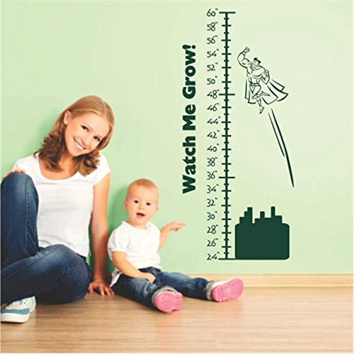 N/ A Sticker mural en vinyle pour chambre d'enfant Motif Watch Me Growth Height for Nursery Kids Room Room Room Hose Décoration de maison Idée cadeau 30,5 cm