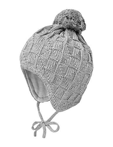 maximo Unisex Baby Billy mit Struktur und Pompon und Bindeband Mütze, Grau (Mittelgraumeliert 49), (Herstellergröße: 47)