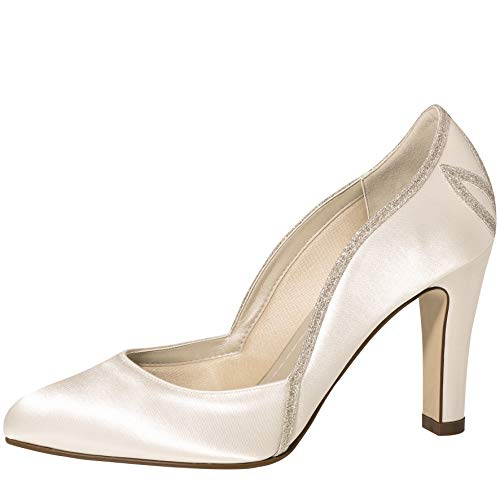 Rainbow Club Brautschuhe Satin Schuhe Kourtney 9 cm FÄRBBAR High Heels Pumps Ivory (38 EU, Ivory)