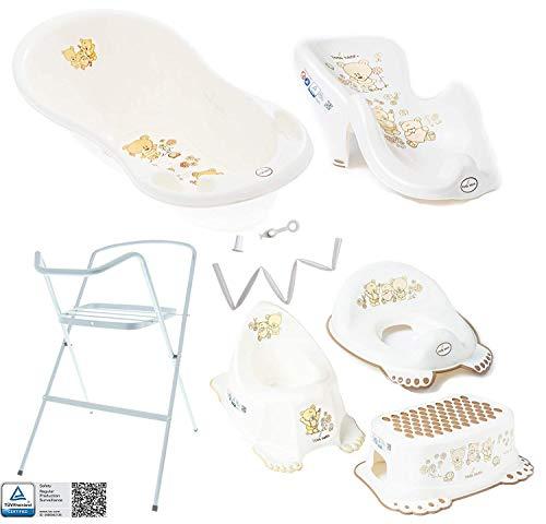 Baignoire Bébé avec Support - Baignoire Haute Complète avec Thermomètre et Égouttage avec Siège de Bain Amovible - Support Haut de Sécurité de Baignoire pour Enfant Bébé - 7 pièces