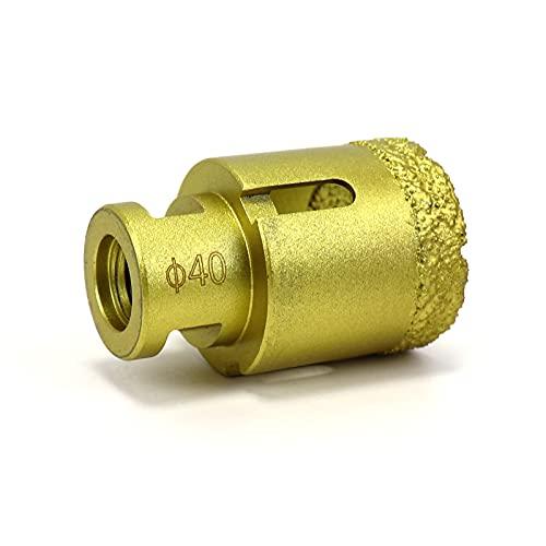 Snowtaros Broca de Diamante, Diámetro 40mm, Corona de Perforación de Diamante M14 para Amoladora Angular, para Porcelana, Azulejos, Granito, Gres, Mármol, en Seco (40mm)