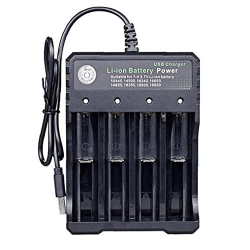Cargador de batería USB 18650 4 Slots Lithium Batería de carga rápida con indicador de luz, mantenedor de batería, cargador de goteo