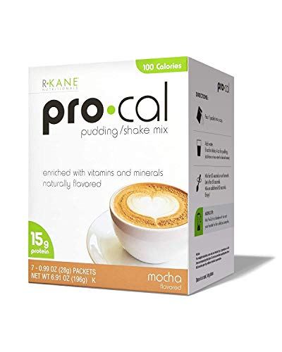 Pro Cal Mocha - R-Kane High Protein Meal Replacement Shakes / Pudding - Pro Cal - 20+ Vitamins and Minerals - No Artificial Flavorings or Preservatives – 7 Packets / 15g Protein / 100 calories (Mocha)