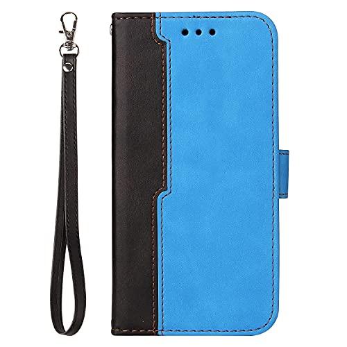 JZ Splicing Wallet Funda For para Realme 8 5G Two-Color Fashion Flip Cover For para OPPO Realme 8 5G / Realme Q3i 5G / Realme Q3 5G / Realme V13 5G with Wrist Strap/Credit Card Slot - Blue