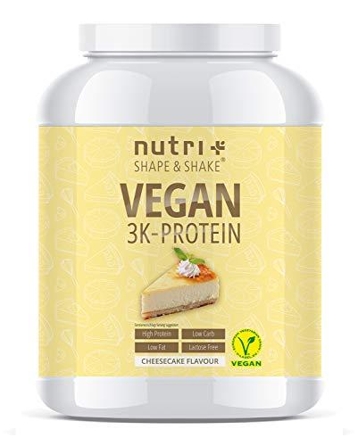 Protein Pulver Käsekuchen 1kg - 83,8% Eiweiß - Veganes Eiweißpulver ohne Laktose & Whey - 3k Proteinpulver Vegan Cheesecake - NUTRI-PLUS SHAPE & SHAKE 1000g Proteinshake