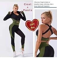 Mei-YY 長袖のパンツヨガ服のギフトスポーツブラジャーハイハイウエストフィットネスセットシームレスな運動女性ジムスポーツウェアレギンス3個 (Color : 3pcs5, Size : L)