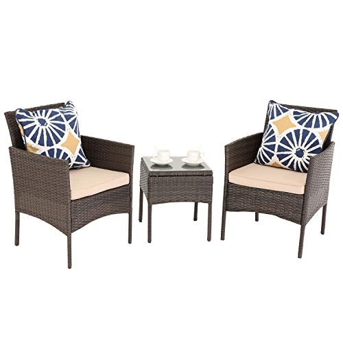 Do4U 3 Pieces Outdoor Patio Furniture Set PE Rattan Wicker Armchairs with Table Garden Balcony Poolside (Brown)