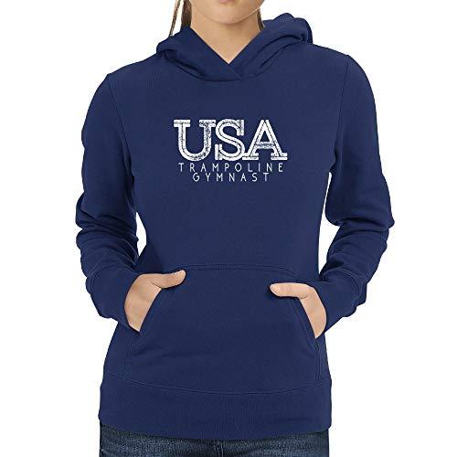 Eddany USA Trampoline Gymnast Grunge Women Hoodie Steel