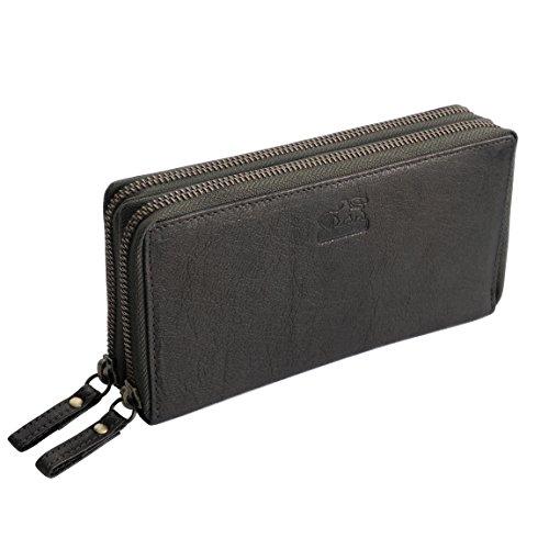 Branco Leder - Mega XXL Leder Damen Geldbörse, Portemonnaie, Ladys Wallet mit 24 Kartenfächern verfügbar - präsentiert von ZMOKA® (Olive)
