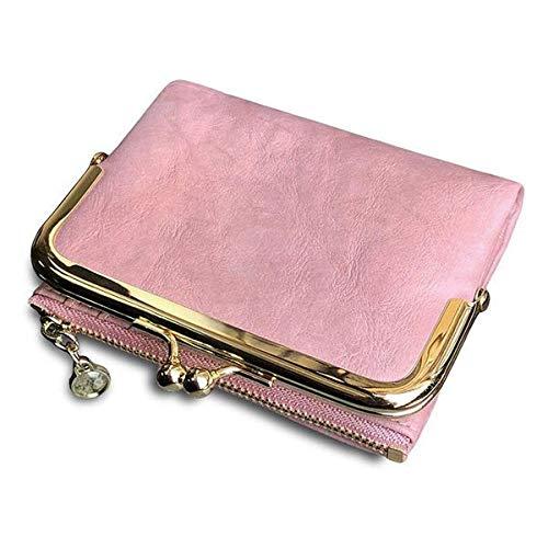 Monederos para Mujer Monedero Doble Doblez Retro MultifuncióN,con Cremallera y Beso Cerradura Rosa