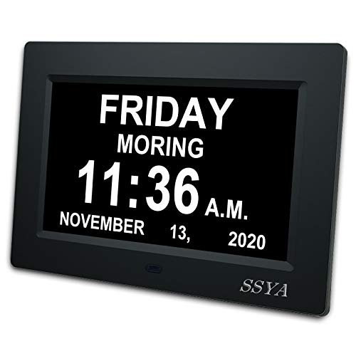 [Newest Version] 7 Inch Day Clock - 12 Alarm Options, Level 5 Auto Dimmable Display,Extra Large Impaired Vision Digital Clock with Non-Abbreviated Day & Month Alarm Clock (7 inch)