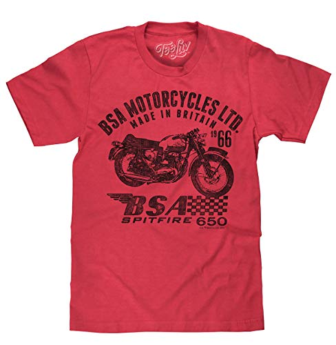 Tee Luv BSA Spitfire T-Shirt - Vintage BSA Motorcycles Graphic Tee Shirt (Red Heather) (XL)
