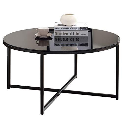 IDIMEX Couchtisch Noelia rund, Wohnzimmertisch Sofatisch mit Tischplatte aus Glas, gekreuztes Fußgestell, in schwarz