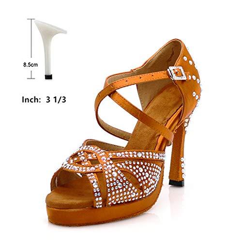 HOAPL Zapatillas de Baile Latino con los Tacones Altos de la Plataforma de Bronce de Baile Latino Zapatos llenos Rhinestone 6-10cm Square Zapatos de Baile para Las Mujeres,8.5 cm,5.5