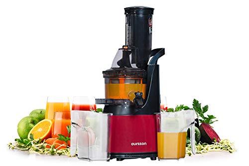 Oursson Vitality Entsafter für Obst und Gemüse mit Schneckenpresse, Kaltpress-Technologie, 240 Watt, Rot, JM6001/DC