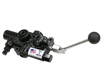 "Prince Manufacturing LS-3040-1 Directional Control Valve, Log Splitter, 4 Ways, Cast Iron, Lever Handle, 2750 psi, 25 GPM, 3/4"" NPTF in/Out, 1/2"" NPTF Work, Gloss Black by Prince Manufacturing Corporation"