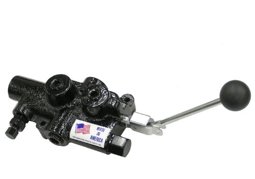 Prince Manufacturing LS-3040-1 Directional Control Valve, Log Splitter, 4 Ways, Cast Iron, Lever Handle, 2750 psi, 25 GPM, 3/4' NPTF in/Out, 1/2' NPTF Work, Gloss Black