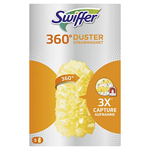 Swiffer Staubmagnet 360° Nachfüllpack 5 Tücher, nimmt Staub, Haare & Allergene aus jeder Richtung auf