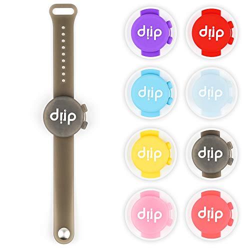 drip Desinfektionsarmband - Sanitizer Bracelet - Lotionsspender mit Auffüllflasche (Grau transparent)