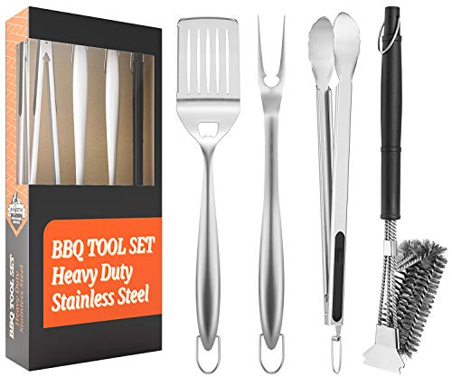 SHINESTAR BBQ Tools, Heavy Duty 4 PCs Barbecue Tool Sets, Extra Long 18...