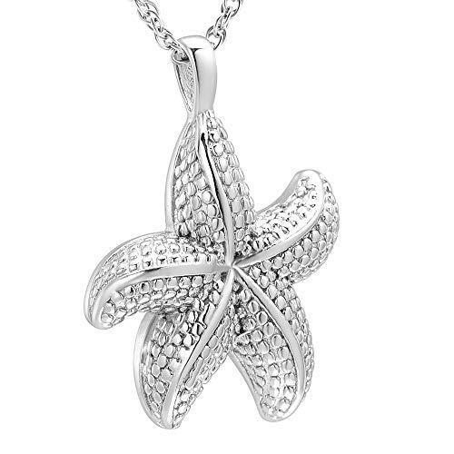 TIANZXS Joyería de cremación de Estrella de mar de Acero Inoxidable 316L en Collares Pendientes Joyería Conmemorativa de Recuerdo para Mujer niña