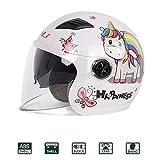 Half-Helmet Casco De Moto Scooter Niño,Carretera Moto Cascos Niño Motocross Casco,Bicicleta Casco Patinete Electrico La Seguridad Proteccion con Gafas de Doble Protección-ECE Homologado,Blanco