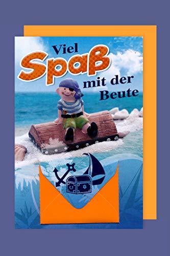 Kinder Geldkarte Karte Grußkarte Geburtstag Abenteuer Pirat 16x11cm