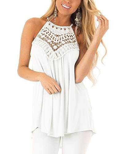 CNFIO Koszulka damska z odkrytymi ramionami, wiązana na szyi, na lato, seksowna kamizelka, z wycięciem pod szyją, z długim rękawem