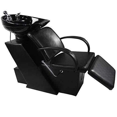 Shampoo Bowl Backwash Barber Shampoo Station W/Adjustable Footrest Ceramic Bowl Unit W/Rubber Headrest Barber Chair All Purpose Hydraulic Recline Barber Chair Salon Beauty Spa Equipment