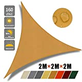 JYYnet Toldo Vela de Sombra, Triángulo 2×2×2m Toldo Vela de Sombra Prevención Rayos UV Poliéster Toldo para Terraza Exterior Jardín (2×2×2m, Arena)