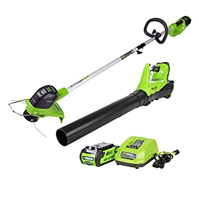 GreenWorks STBA40B210 G-MAX 40V Cordless String Trimmer and Blower Combo Pack (Renewed)