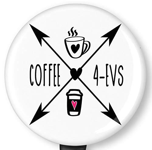 Coffee 4-EVS Retractable Badge Reel with Alligator Clip,Name Nurse ID Card Badge Holder Reel, Decorative Custom Badge Holder