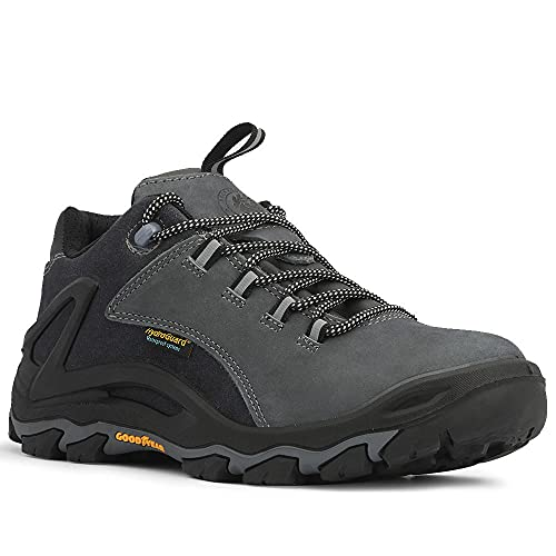 "ROCKROOSTER Farland Men's Waterproof Hiking Shoes, 4"" Soft Toe Slip On Outdoor Trekking Shoes (KS253 Blue Grey, 9.5)"