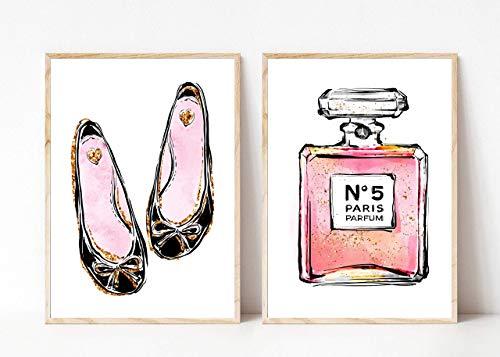 Din A4 Kunstdruck 2er-Set - ungerahmt - Schuhe Ballerinas Paris Mode Fashion Parfum Flakons Luxus Beauty Druck Poster Bild