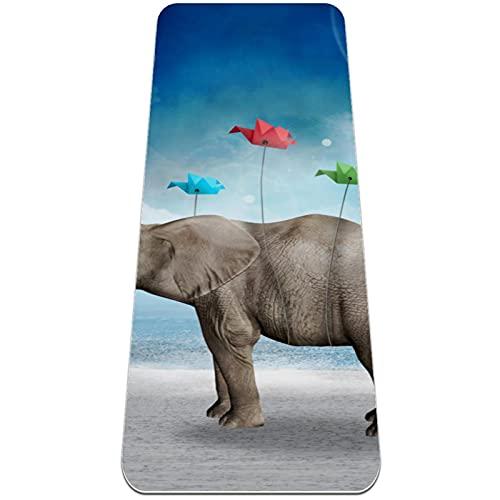Yoga multiusos de 1/4 de pulgada extra grueso de alta densidad antidesgarro ejercicio estera de yoga, elefante globo origami pájaro