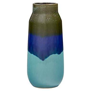 Rivet Modern Ceramic Vase, 12  H, Blue/Green