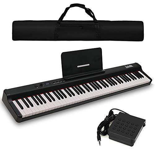 Dulcette DX-10 88-Key Portable Piano Keyboard | Dual 25W Speakers | Semi-Weighted Keys | Sustain Pedal MIDI/USB | Electric Keyboard Piano 88-Keys | FREE CARRYING BAG (88-Key, Black)