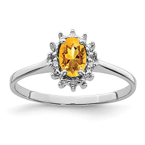 925 Sterling Silver Yellow Citrine Diamond Band Ring Size 8.00 Stone Gemstone Fine Jewellery For Women Gifts For Her