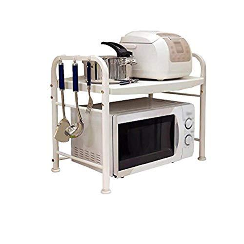 HYYDP Rejilla de horno de microondas de cocina blanca de 2 niveles con 8 ganchos Pies ajustables Rejilla de almacenamiento de mesa Soporte de estante for olla arrocera Acero inoxidable + plástico Esta
