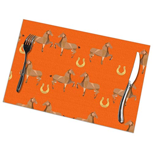 Placemats Set of 6 Heat-Resistant Placemats Stain Resistant Anti-Skid Washable Vintage Horse Racing Art Table Mats
