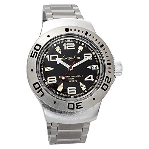 Vostok Amphibia 060335 - Reloj de buceo ruso para hombre (200 m, correa de acero inoxidable)