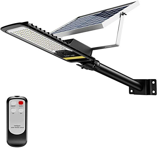 ENGREPO Solar Street Lights Outdoor, 80 Watts Security Flood Light Auto On/Off Dusk to Dawn with Remote Control for Yard, Garden, Street, Basketball Court